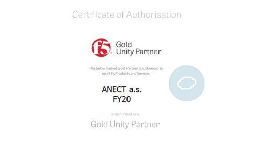 Společnost Anect se stala Gold partnerem společnosti F5